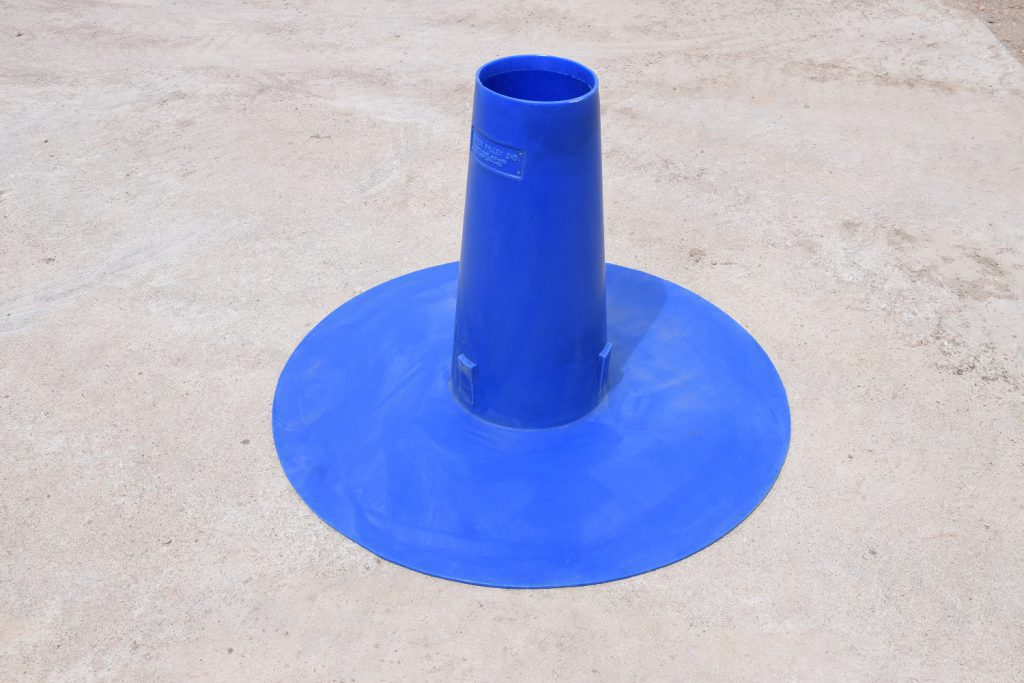 blue plastic tire insert used for plugging rims to turn into livestock watering troughs